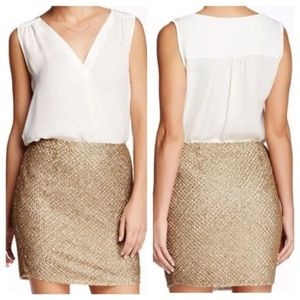 Joie Bricia Gold Sequins Mini Skirt